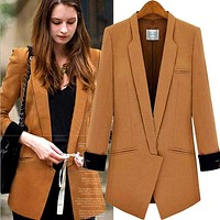 S-XL 2017 NEW European American Style Women Blazer Spring New Long-Sleeved Hit Color Stitching Slim Small Jacket Women's Suit Macchar Cosplay Catalogue