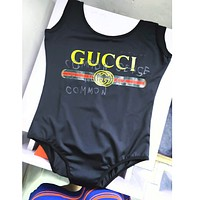 GUCCI Summer Sexy Women Vest Style Hot Letter Print One Piece Bikini Swimsuit Bathing I