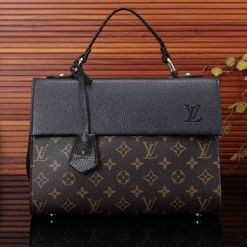 Tagre™ LV Louis Vuitton Women Trending Shopping Bag Print Leather Satchel Shoulder Bag Handbag Tote Black I
