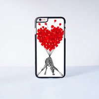 Cute Giraffe With Flying Ballon Plastic Case Cover for Apple iPhone 6 Plus 4 4s 5 5s 5c 6