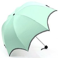 TOPTIE Pale Green Anti-UV Sun Umbrella, Arched Parasol, Lace Trimming, Christmas Gift
