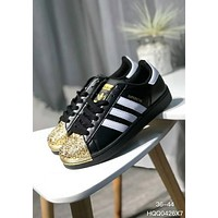 Adidas Superstar Copper Metal Shell-Toe Trending Women Men Personality Flat Sport Shoe Sneakers Black+Golden Toe I-A0-HXYDXPF