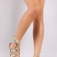 Qupid Strappy Rhinestone Coin Charm Lace Up Flat Sandal