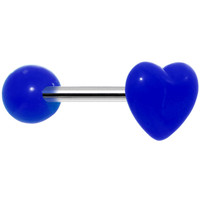 """14 Gauge Blue Beating Heart Straight Barbell Tongue Ring 5/8""""   Body Candy Body Jewelry"""