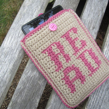 Kindle Cover - Felt Lined - Great Christmas Gift by Crocheted by CROriginals