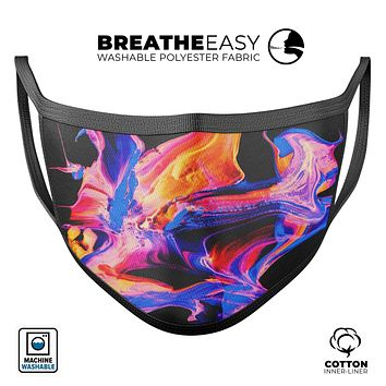 Liquid Abstract Paint V4 - Made in USA Mouth Cover Unisex Anti-Dust Cotton Blend Reusable & Washable Face Mask with Adjustable Sizing for Adult or Child