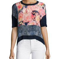 Short-Sleeve Floral & Paisley Crop Top, Size: