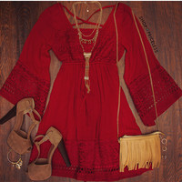 Elodie Boho Dress - Burgundy