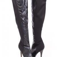 Black Sexy Thigh High Heel Boots Faux Leather