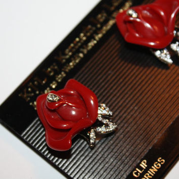Vintage KJL Brooch Red Rose Earrings,Kenneth Jay Lane, Tuxedo Rose KJL, Vintage Earrings