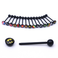 Black Soft Free Shipping Logo Tongue Ring,labret ring Noctilucent Acrylic Tongue Nipple Bar Ring Barbell Body Piercing