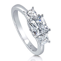 BERRICLE Rhodium Plated Sterling Silver 3-Stone Engagement Ring Made with Swarovski Zirconia Size 9