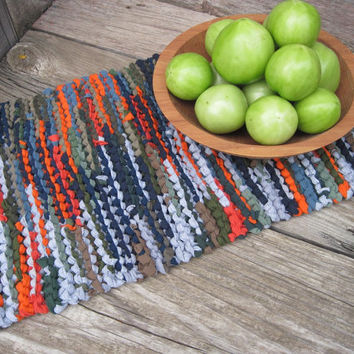 Rustic Knitted Trivet Upcycled T Shirts Hunter Orange Navy Blue Moss Green Kitchen Mat Log Cabin Style -US Shipping Included