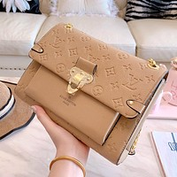 LV Louis Vuitton Fashion Women Shopping Bag Leather Shoulder Bag Crossbody Satchel Khaki