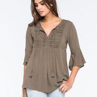 Full Tilt Crochet Inset Womens Poet Sleeve Top Olive  In Sizes