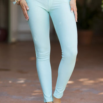 Turquoise Fitted Jeggings