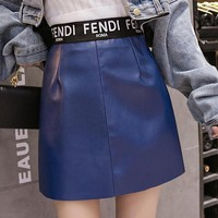 FENDI Autumn Winter Fashion Women Cool High Waist Leather Skirt Blue