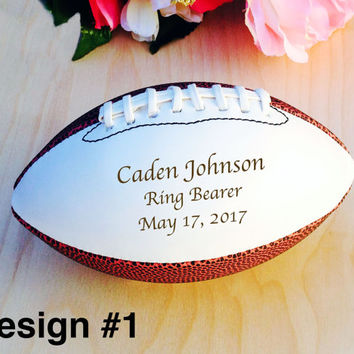 Ring Bearer Gift, Engraved Football, Groomsmen, Engraved Gift, Christmas Gift, Sports, Keepsake, Design #1