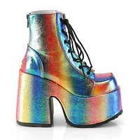 Demonia Chunky Iridescent Rainbow Lace-Up Platform Ankle Boots