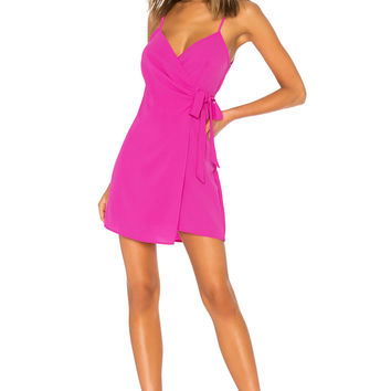 Show Me Your Mumu X REVOLVE Say Jay Wrap dress in Hot Pink Crinkle Stretch