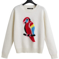 Beige Parrot Pattern Print Long Sleeve Knit Sweater