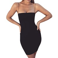 Summer Black Sexy Dress Women Clothes 2019 Sexy Solid Sleeveless Spaghetti Strap Bandage Dress Gothic Bodycon Dress vestidos