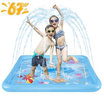"HLAOLA Sprinkler for Kids Splash Pad Play Mat 67"" Inflatable Baby Wadding Pools Spray Mat Fun Summer Outdoor Water Toys Gifts for Boys Girls Ocean Paradise Theme Swimming Pool. Blue-square"