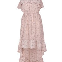 Ruffle High-Low Floral Dress - Natural