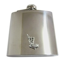 Silver Toned Textured Scottish Bag Pipes Music Instrument 6 Oz. Stainless Steel Flask