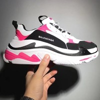 Balenciaga Mixed Colors Retro Sneakers Men And Women Running Shoes Pink&White B-CSXY