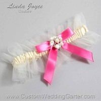 """Fuchsia and Ivory Tulle Pearl Bridal Garter """"Natalie 20"""" Silver"""