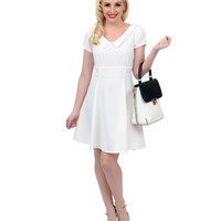 White Short Sleeve Crepe Fit N Flare Dress