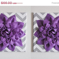 """MOTHERS DAY SALE Set Of Two Wall Decor -Lavender Dahlia on Gray and White Chevron 12 x12"""" Canvas Wall Art- Baby Nursery Wall Decor-"""