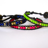 Beaded Leather Single Wrap Stackable Bracelet with Magenta Pink Blue or Green Gemstone Beads on Genuine Black Leather Summer Jewelry