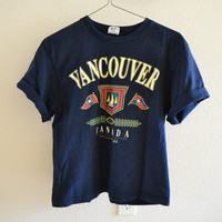 Vancouver Canada Tee Navy Blue Vintage 90s Oversized L