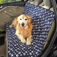Pet Car Seat Cover Quilted Dog Navy Paw Print Water Resist Protect Back Double