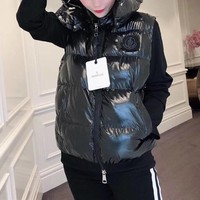 moncler women fashion solid color sleeveless zip cardigan hooded down vest jacket coat