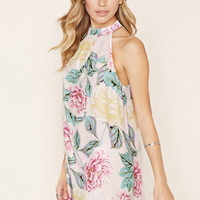 High-Neck Floral Dress