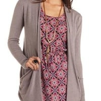 Long Sleeve Slouchy Pocket Cardigan Sweater