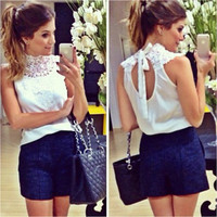 SIMPLE - Chiffon Lace Sexy White Slim Backless High Collar Neck Casual Party Wear Holiday Short Sleeve Top T-shirt b2213