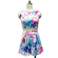 2015 New Fashion Women Sexy O-Neck Backless Casual Top And Short Skirt 2 Pieces Set Women Strap Flower Print  Designed Skirts = 1667481028