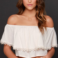 Small Talk Light Beige Off-the-Shoulder Crop Top