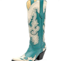 Corral Women's Turquoise/ Cream Studs Wing Tip Boot - A1188