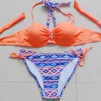 Geo Push up Halter Bathing Suits Bikini
