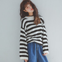 Black and White Stripe Ribbed Trim Pullover Sweater