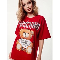 Moschino 2019 new street fashion bear pattern loose round neck T-shirt Red