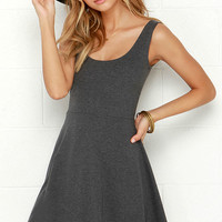 Devil May Flare Dark Grey Dress