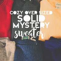 Mystery Sweater | Solid Color | Vintage Oversized Cozy Comfy Knit Long Sleeve