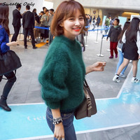 2016 new hot sale women's autumn winter Half-height collar mohair sweaters woman thicken lantern sleeve loose pullovers coats