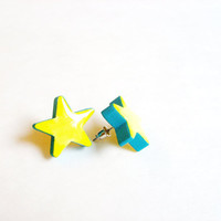 Lemon Zest Neon Starfish Earring - Star Earrings Wooden Jewelry, Tiny Stud Hand Painted Jewelry - Lightweight Yellow Star Earrings